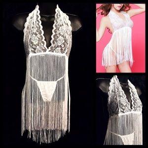 Sexy White Lace Tassel Halter Bra/Panty OS  NEW!
